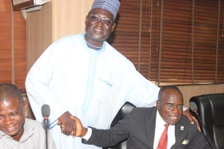 DGM LRC NNDC Alh Abdulkareem Sani (standing) and AGM ISD NNDC Mr Iorse Kwaghzha (sitting)