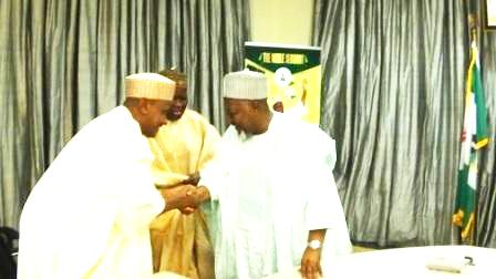 The GMD of NNDC Dr. Ahmed M. Muhammed (left) greeting Gov. Muhammadu Abubakar Badaru of Jigawa State
