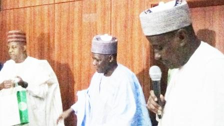 NNDC Chairman, Alh. Bashir Mohammed Dalhatu (Walin Dutse) presenting a business plan inside the Ante-Chamber, Gvernment House, Maiduguri while the GMD, NNDC Dr. Ahmed Musa Mhammed fca makes his presentation to the Governor