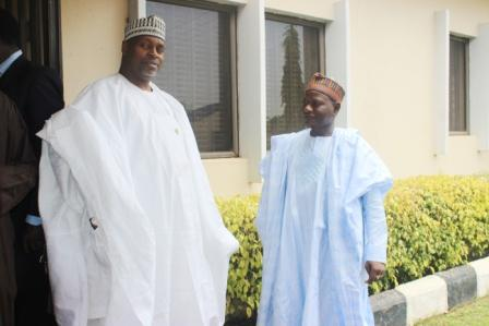(left) Ed ISD NNDC and Chairman of KTL restructuring committee Alh. Abdullahi Ali Gombe (mni) discussing with MD KTL (right) Alh. M.B Umar