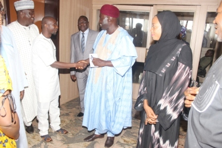 ED BD/CP NNDC Alh. Abass Waziri welcoming the Chairman Mr Midat Joseph, Correspondent's Chapel, Kaduna to NNDC
