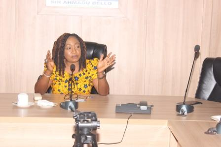 ED MSD NNDC, Mrs Kaneng Dokotri Adole addressing members of NAWOJ Kaduna Chapter